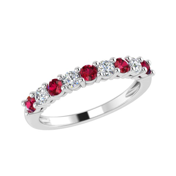 Ruby and Diamond Semi Eternity Ring