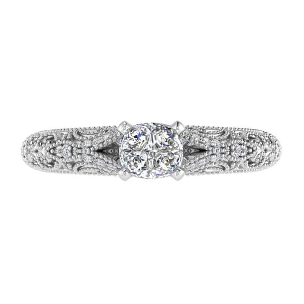 Fancy Milgrain Cushion Diamond Engagement Ring 18K Gold - Thenetjeweler