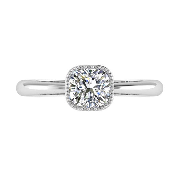 Milgrain Detail Cushion Solitaire Engagement Ring 18K Gold