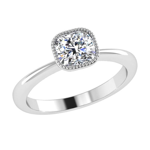 Milgrain Detail Cushion Solitaire Engagement Ring 18K Gold - Thenetjeweler