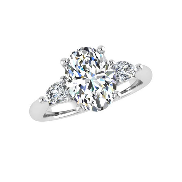 Oval Diamond Engagement Ring with Pear Side Stones 18K Gold - Thenetjeweler