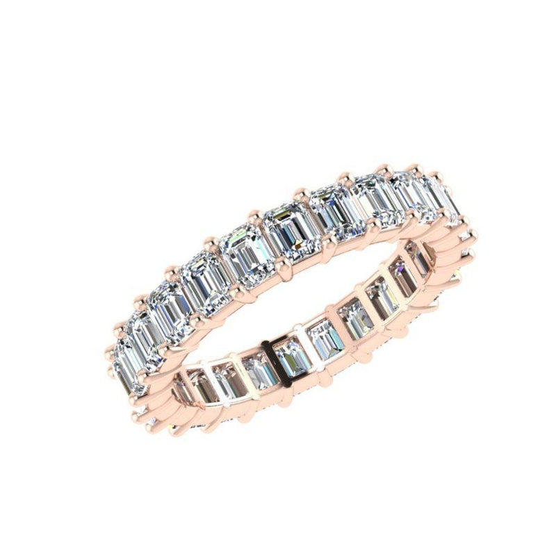Emerald Cut Diamond Eternity Ring 18K White Gold 3.01 ct.t.w. - Thenetjeweler