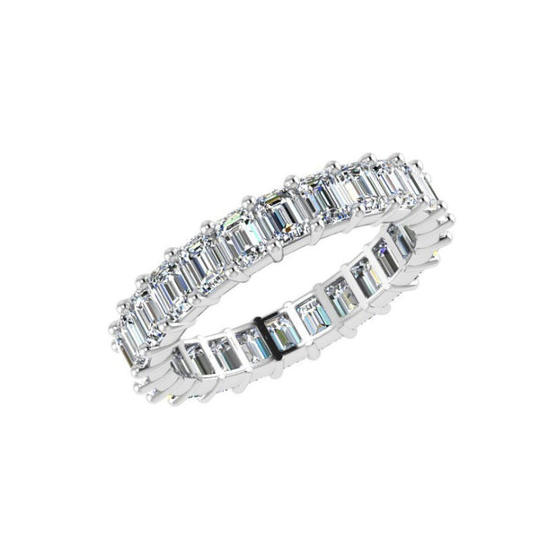 Emerald Cut Diamond Eternity Ring 18K White Gold 3.01 ct.t.w. - Thenetjeweler by Importex