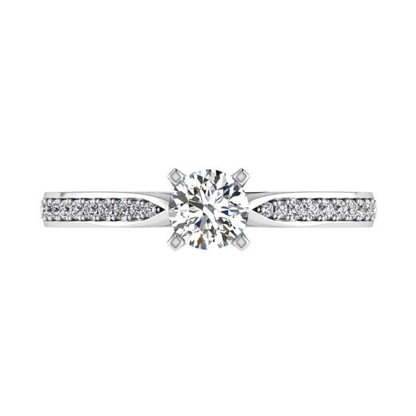 Round Diamond Engagement Ring with Side Stones (0.12 ct. tw) - Thenetjeweler