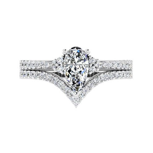 Pear Diamond Ring and V Shaped Diamond Band New Version - Thenetjeweler