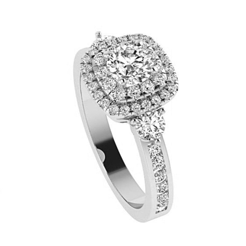 Double Cushion Halo Round Diamond Engagement Ring with Side Stones 18K Gold - Thenetjeweler