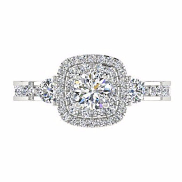 Double Cushion Halo Round Diamond Engagement Ring with Side Stones 18K Gold - Thenetjeweler by Importex