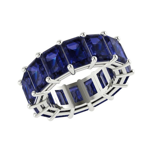 Blue Sapphire Eternity Ring Band 14K White Gold - Thenetjeweler by Importex