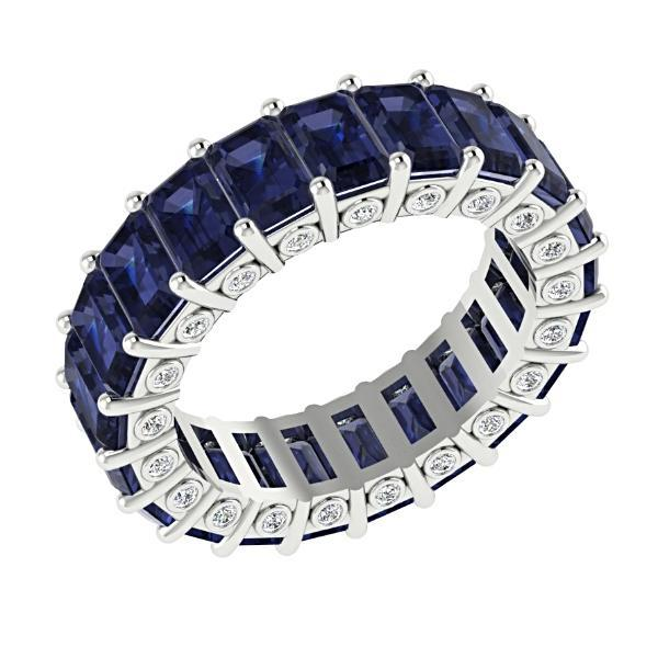 Blue Sapphire and Diamonds Eternity Anniversary Wedding Stackable Band 18k Gold - Thenetjeweler by Importex