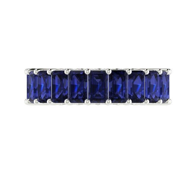 Blue Sapphire and Diamonds Eternity Anniversary Wedding Stackable Band 18k Gold - Thenetjeweler