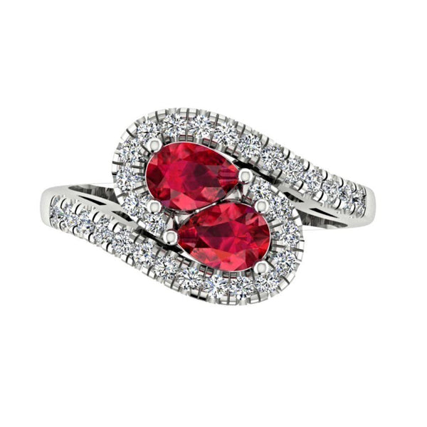 Twin Pear Rubies Diamond Ring 14K Gold Wave Band - Thenetjeweler