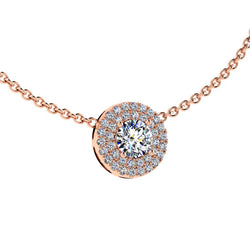 Diamond Halo Necklace 14K Rose Gold - Thenetjeweler