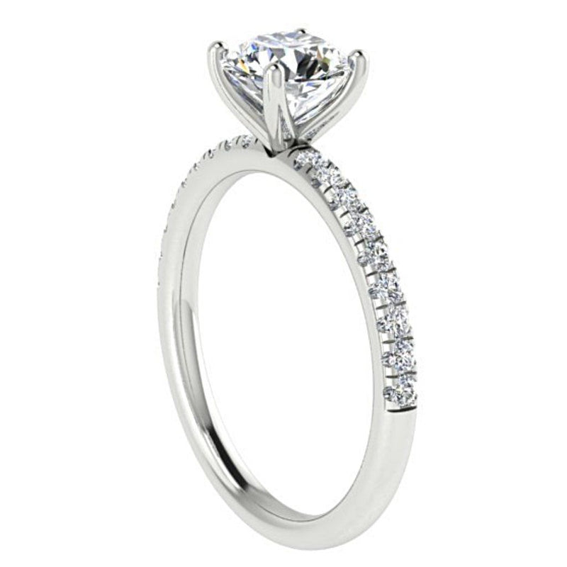 Diamond Side stone Engagement Ring 18K White Gold 0.20c - Thenetjeweler