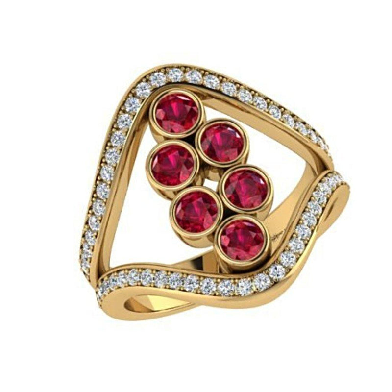 Ruby and Diamond Split Shank Ring 18K Yellow Gold - Thenetjeweler