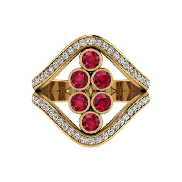 Ruby and Diamond  Ring 18K Yellow Gold - Thenetjeweler