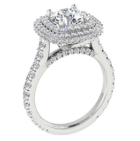 Double Halo Diamond Engagement Ring Setting 14K White Gold  1.46 cts - Thenetjeweler