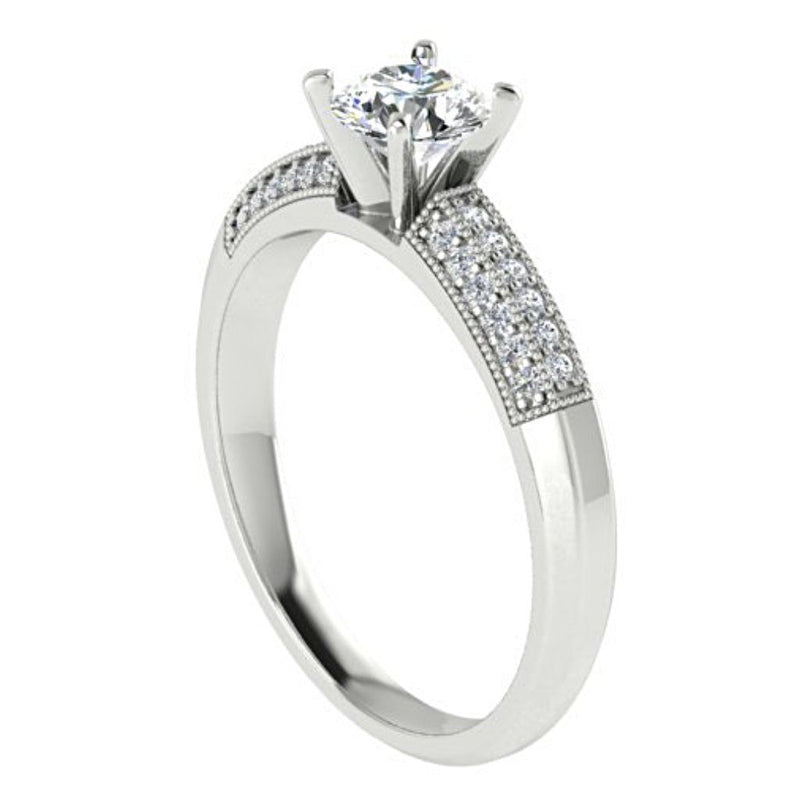 Round Diamond Engagement Ring with Side Stones 18K White Gold - Thenetjeweler