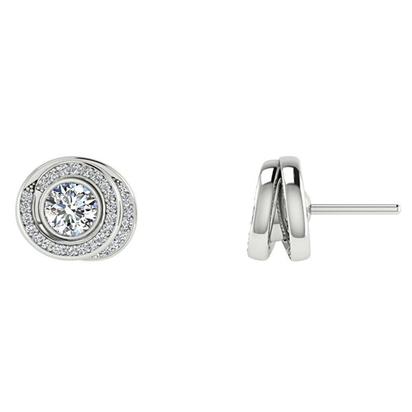 Diamond Twisted Halo Stud Earrings 14K White Gold - Thenetjeweler