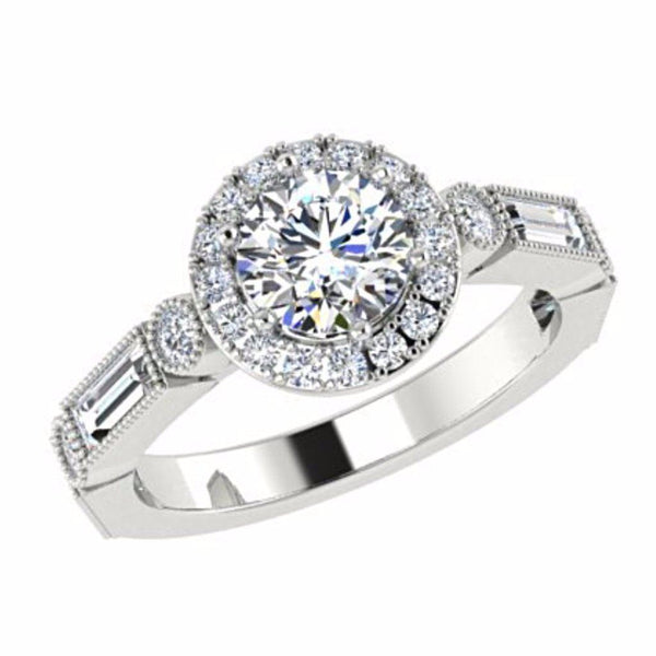 Round Diamond Halo Engagement Ring with Baguette Side Stones 18K Gold - Thenetjeweler