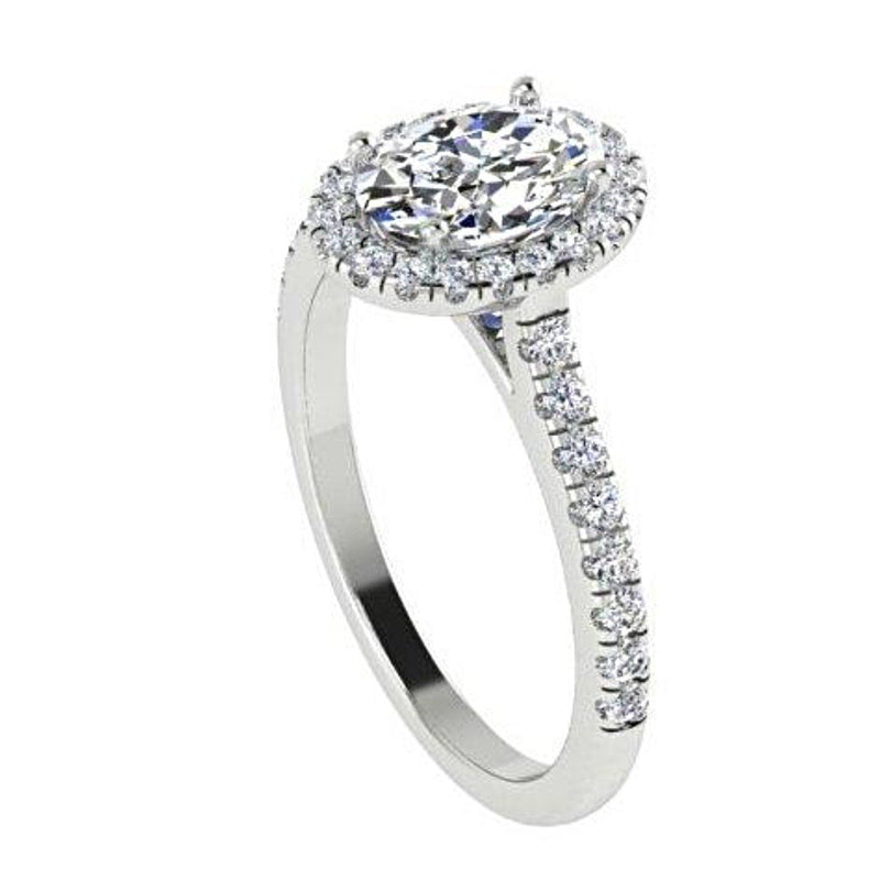Oval Diamond Halo Engagement Ring with Side Stones 18K White Gold - Thenetjeweler