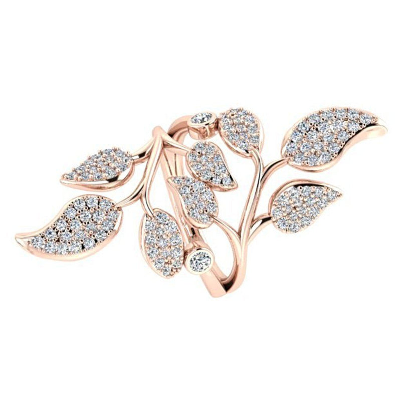 1.0 carat Diamond Leaf Ring 18K Rose Gold - Thenetjeweler