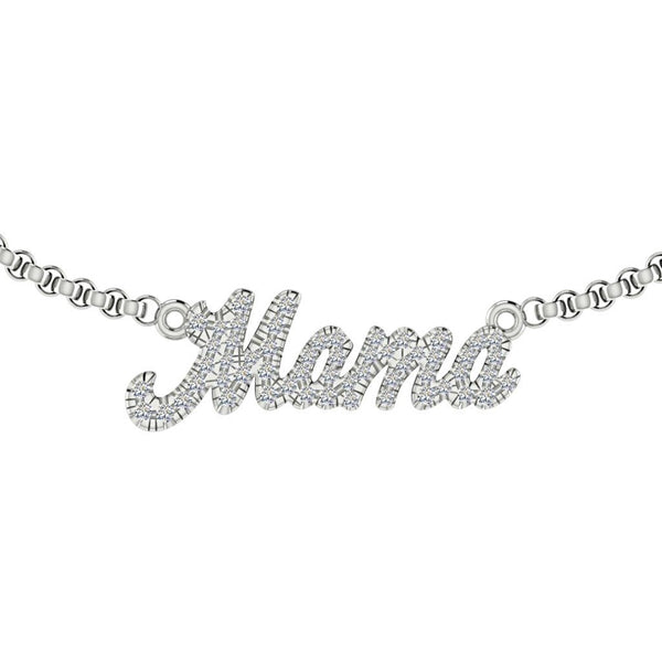 Personalized Mama Necklace Gold set with Diamonds - Thenetjeweler