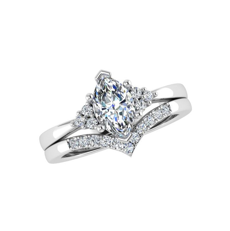 V shaped diamond wedding band and Engagement ring set - Thenetjeweler