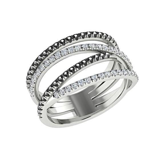 Black and White Diamonds Wide Ring 14K White Gold Crisscross Band - Thenetjeweler