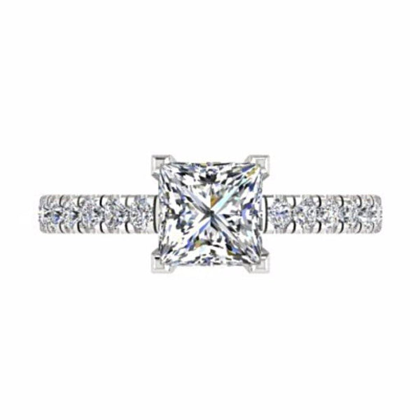 Princess Diamond Engagement Ring with Side Stones 18K Gold - Thenetjeweler by Importex