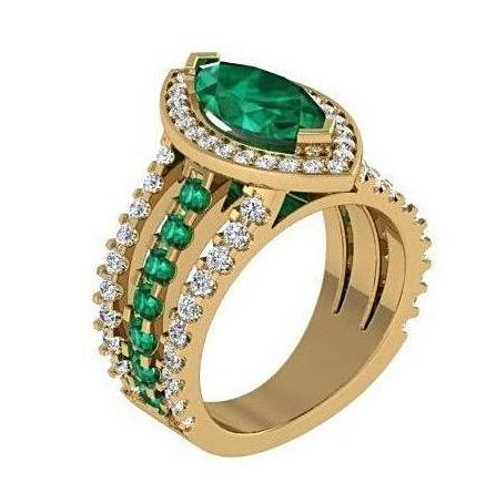 Marquise Diamond and Emerald Ring 18K Yellow Gold - Thenetjeweler by Importex