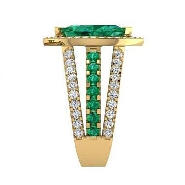Marquise Diamond and Emerald Ring 18K Yellow Gold - Thenetjeweler