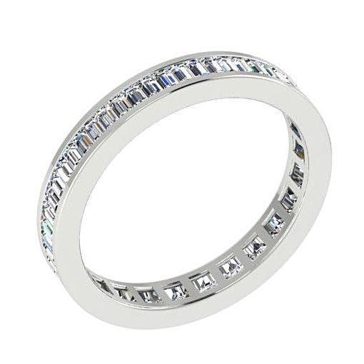 1.20 cwt Baguette Diamond Eternity Ring 18K White Gold - Thenetjeweler by Importex