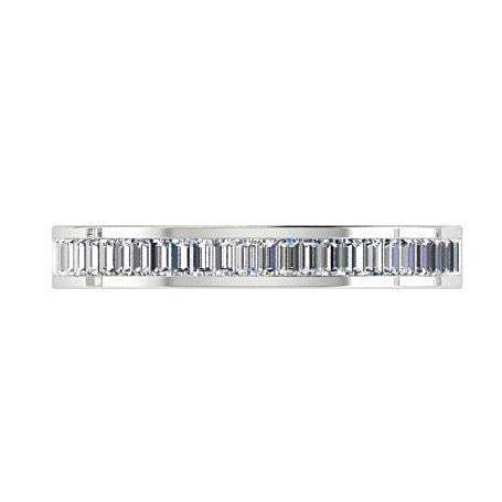 0.60 cwt Baguette Diamond Semi Eternity Ring 18K White Gold - Thenetjeweler by Importex