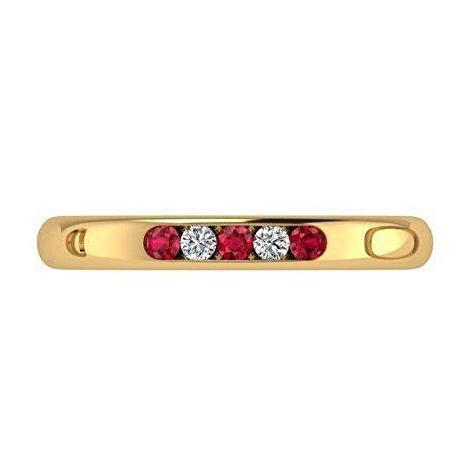 Ruby and Diamond Ring 14K Yellow Gold Band - Thenetjeweler