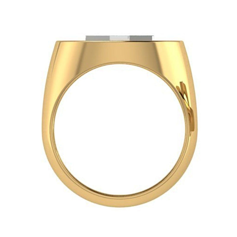 Two Tone Menorah Signet Ring 14K Yellow Gold - Thenetjeweler
