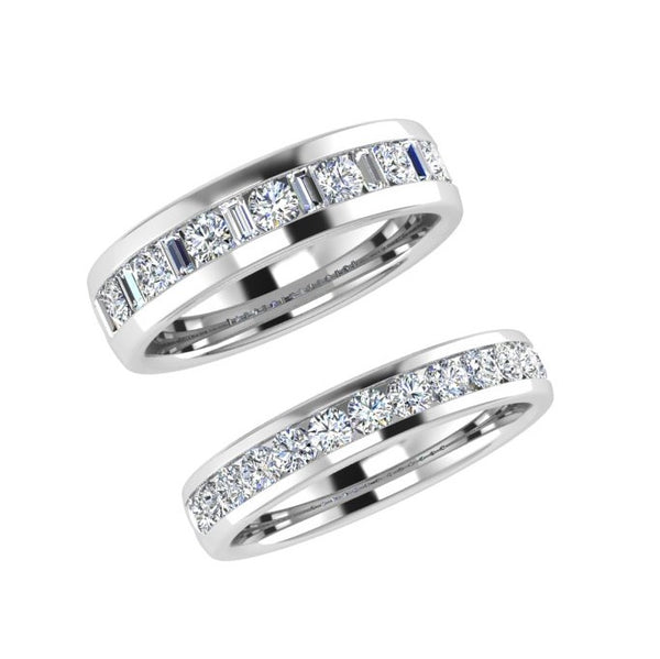 Matching Diamond Wedding Bands 18k White Gold - Thenetjeweler
