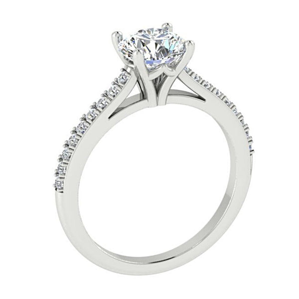 Diamond Engagement Ring Side Stones 18K White Gold - Thenetjeweler by Importex