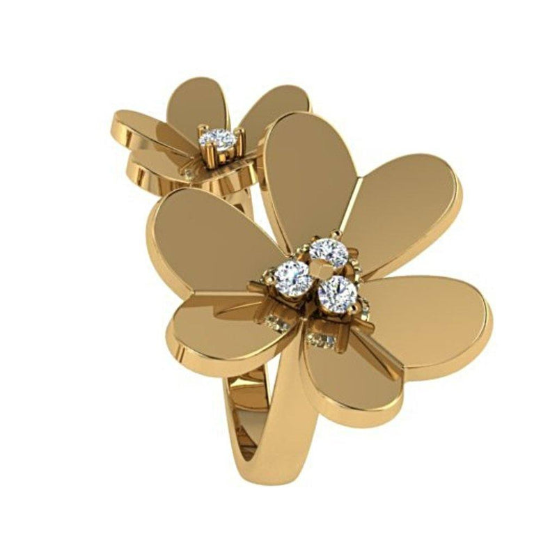 Flower Diamond Ring Yellow Gold - Thenetjeweler by Importex