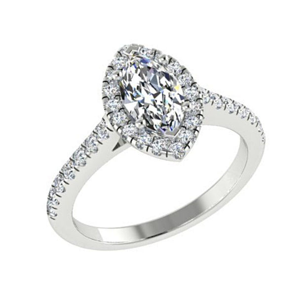 Marquise Diamond Halo Engagement Ring with Sides Stones 18K White Gold Setting - Thenetjeweler