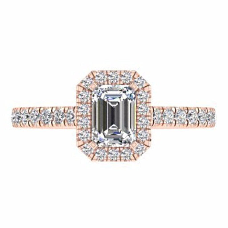 Emerald Cut Diamond Halo Engagement Ring with Side Stones 18K Gold - Thenetjeweler