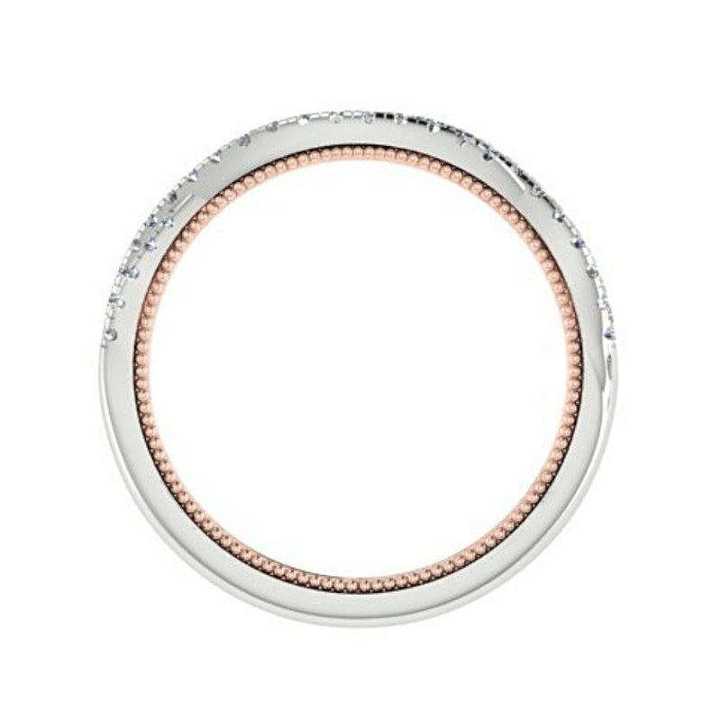 Two Tone Criss Cross Diamond Semi Eternity Ring 18K White and Pink Gold - Thenetjeweler