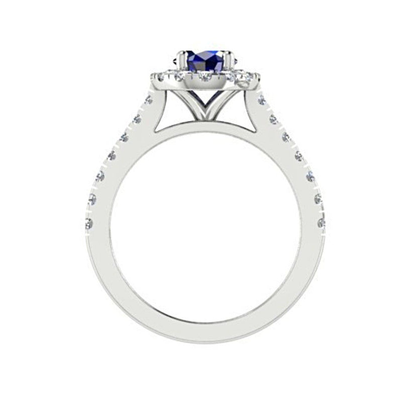 Oval Sapphire Halo Diamond Ring with Side Stones 18K White Gold - Thenetjeweler
