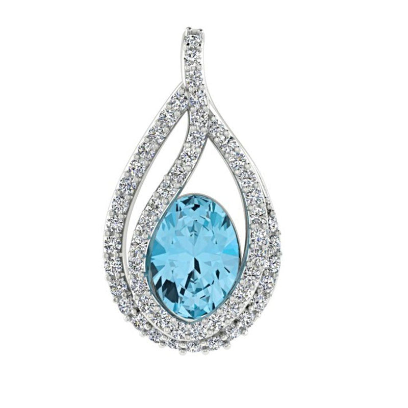 Oval Gemstone and 0.20 cwt Diamond Pendant 18K White Gold - Thenetjeweler