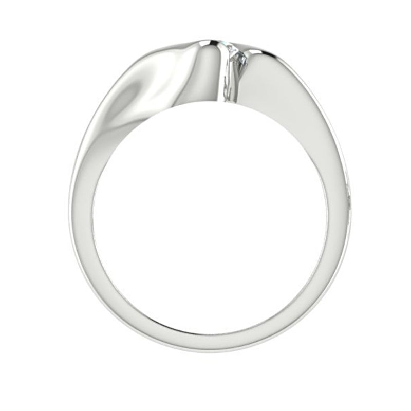 Oval Diamond Twist Band Ring 14K White Gold Setting - Thenetjeweler