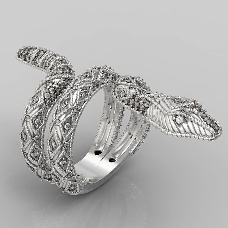 Black Diamond Snake Ring 14K White Gold - Thenetjeweler by Importex