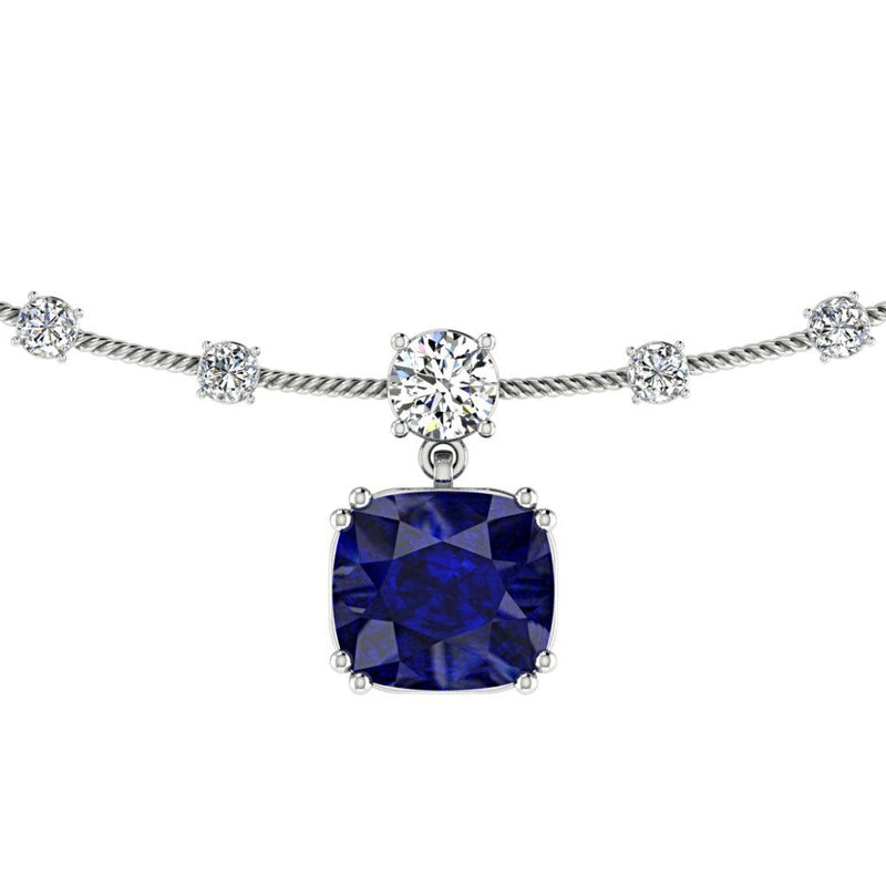 Diamond Necklace with Sapphire Gemstone 18K White Gold - Thenetjeweler