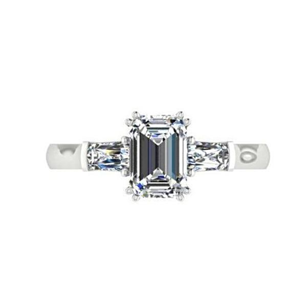 Three Stone Emerald Cut Diamond Engagement Ring 14K White Gold - Thenetjeweler