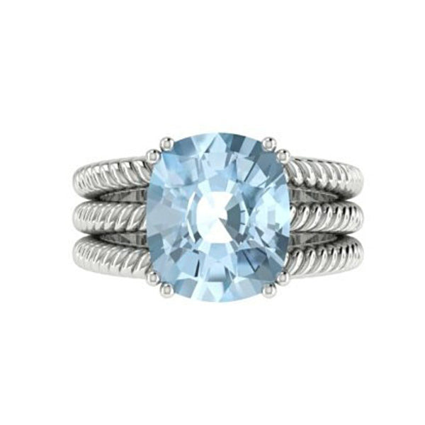 Blue Topaz Cable Coil Band Ring 14K White Gold - Thenetjeweler