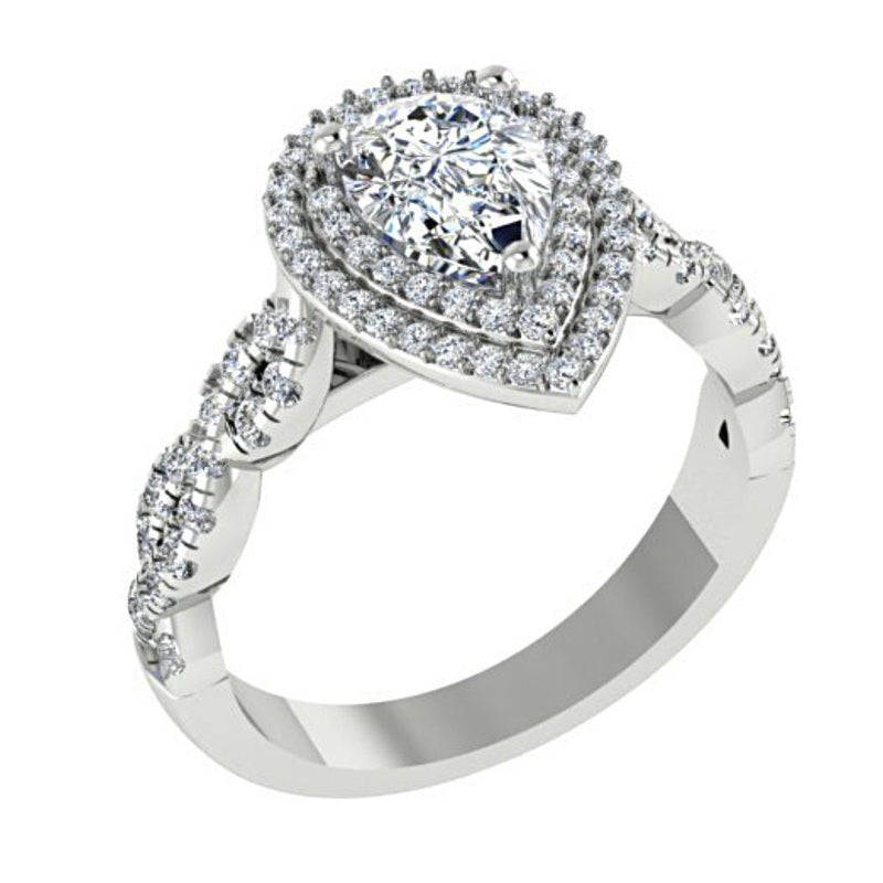 Pear Diamond Double Halo Engagement Ring 18K White Gold - Thenetjeweler