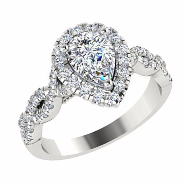 Pear Diamond Halo Engagement Ring 18K White Gold - Thenetjeweler
